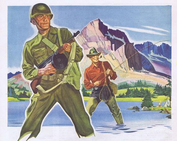 1943 WW2 Fisherman Soldier Greyhound Bus or Travel to San Francisco Victory Vacation Original Vintage Advertisement