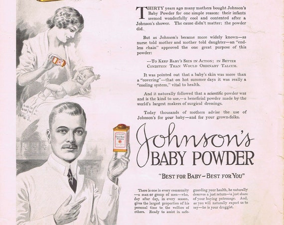Very Old 1920 Palmolive Shampoo and Johnson's Baby Powder Vintage Ads Wonderful Art