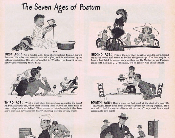 1943 Postum Seven Ages Mealtime Drinks Original Vintage Advertisement Once Popular Coffee Substitute During WW2