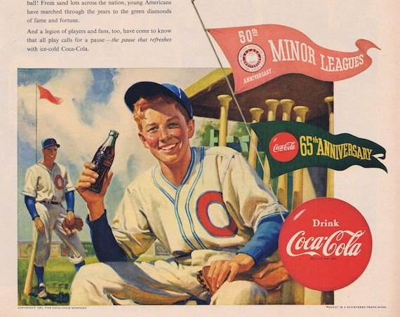 1951 Coca-Cola and Baseball Anniversaries Original Vintage Advertisement with Nice Art of Young Baseball Player