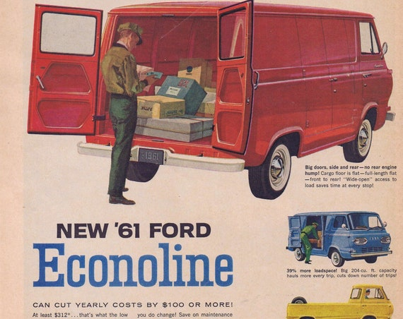 1961 Ford Econoline Van, Pickup and Station Bus or Smirnoff Vodka with Mike Nichols and Elaine May Original Vintage Advertisement
