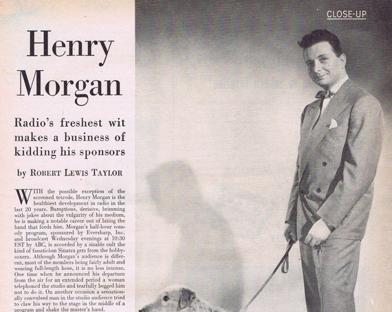 Henry Morgan and Adler Elevator Shoes with Airedale dog Shag 1947 Vintage Magazine Feature and Picture