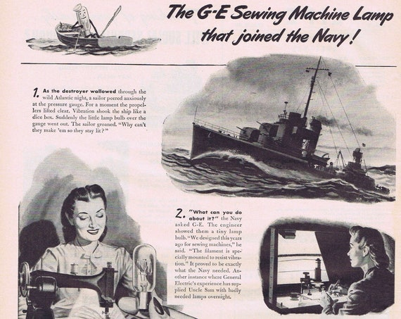 1944 WW2 Sewing Machine General Electric Mazda Lamp that Joined the Navy Original Vintage Advertisement