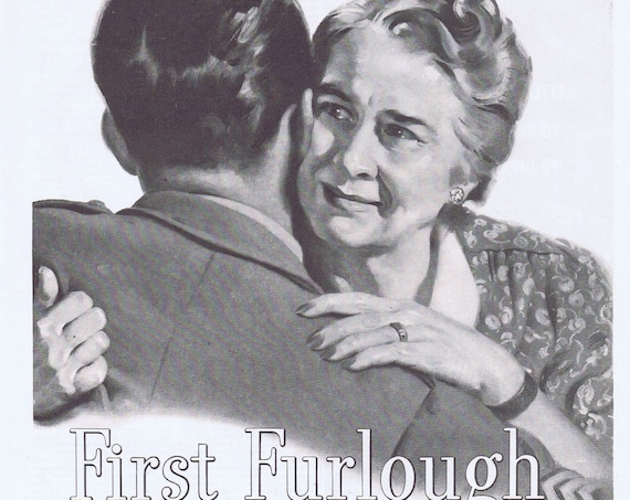 1943 WW2 Soldier First Furlough Embraced by Tearful Mother Conoco Motor Oil Original Vintage Advertisement Salute Very Moving Must See