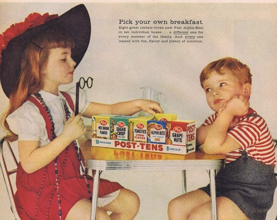 1959 Brother and Sister Post-Tens Variety Cereal Crackling Original Advertisement