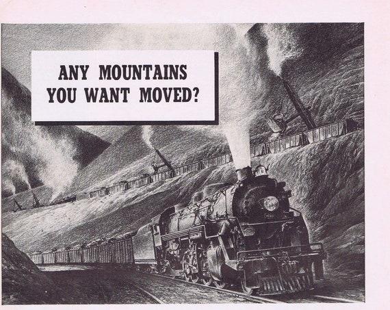 1941 American Railroads Moving Mountains Original Vintage Advertisement