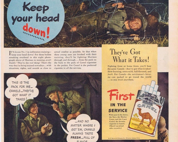 1944 WW2 US Marine Infiltration Training Camel Cigarettes First in the Service Original Vintage Advertisement