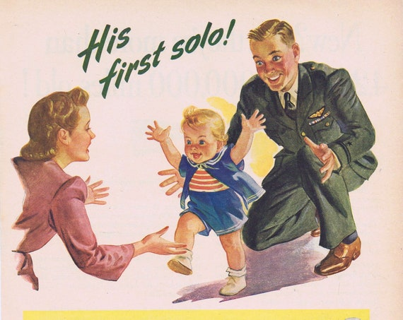 1944 WW2 Pilot Soldier Dad and Son Butch His First Solo with Mother Carnation Milk Very Moving Original Vintage Ad with Wonderful Art