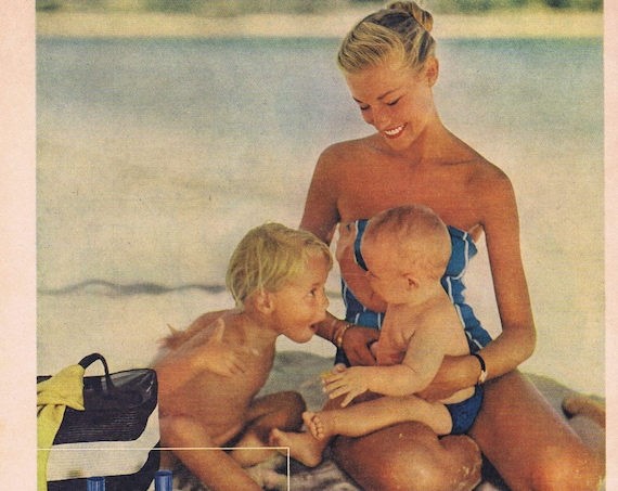 1955 Johnson's Baby Powder Pretty Mother and Baby at Beach or Big Brother Post Toasties Cereal Whitney Darrow Art