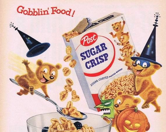 1955 Sugar Crisp Original Vintage Halloween Advertisement Neat Bear Collectible