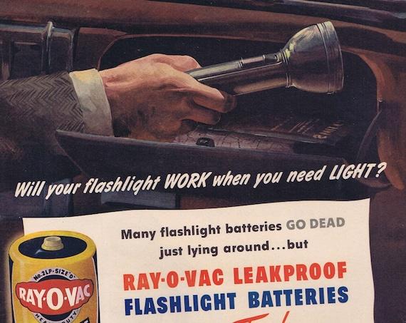 1945 Ray-O-Vac Flashlight Batteries Original Vintage Automobile Advertisement with Emergency Help Nice Artwork