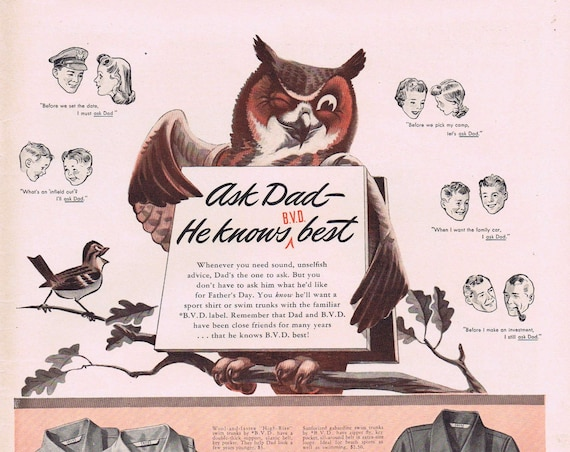A Wise Old Owl and Father's Day B.V.D. Clothing for Dad or Fred Allen and Texaco Old Ad