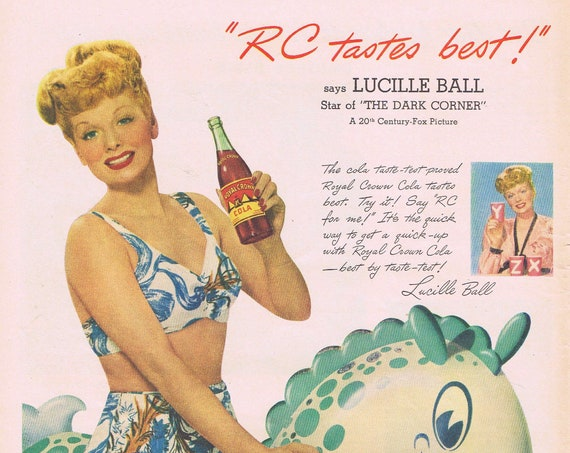 Young and Beautiful Lucille Ball in Swimsuit for Royal Crown Cola 1946 Original Vintage Advertisement Great Lucy Collectible