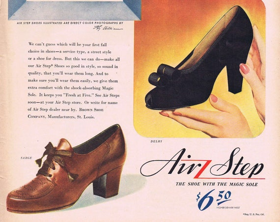 1943 Air Step Women's Shoes Original Vintage Advertisement Three Different Types with Magic Soles
