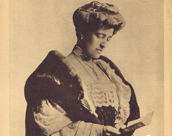 Edith Wharton Famous Author 1919 Sepia Tone Magazine Photo with Information Page