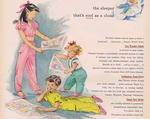 1949 Tropic Nitey Nite Children's Sleepers by Glendale Knitting Original Vintage Advertisement with Art by Erma Anderson