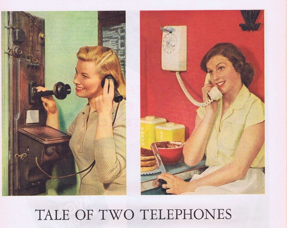 1956 Wall Phones Western Electric Tale of Two Telephones or Texaco and Havoline Redstone Missile Original Vintage Ad