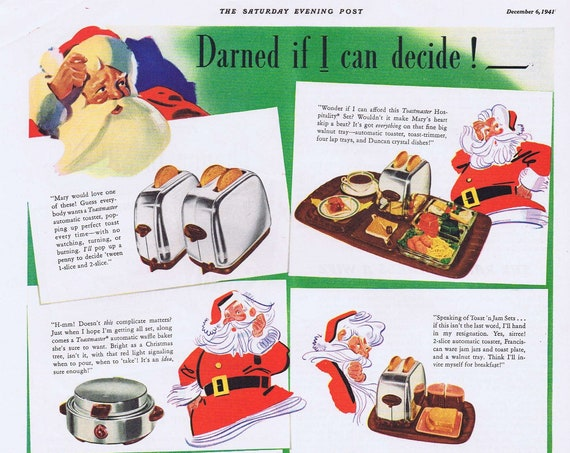 1941 Toastmaster Toaster and Waffle Maker Original Vintage Advertisement with Santa Claus