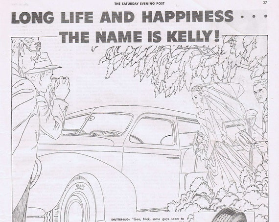 1943 Newlyweds and Kelly Springfield Tires Original Vintage Advertisement