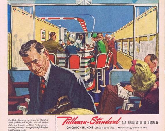 "1946 Pullman-Standard Railways with Coffee Shop or Dubonnet Wine with ""La Rotonde-Paris"" art by Stanton MacDonald Wright Original Vintage Ad"