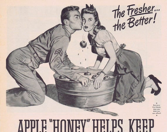 1944 WW2 Era Old Gold Cigarettes Couple Bobbing for Apples Original Vintage Advertisement