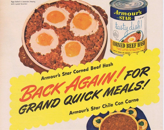 1944 Armour Star Chile Con Carne and Corned Beef Hash Original Vintage Advertisement