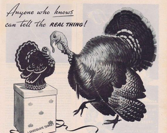 1944 Calvert Reserve Whisky with Thanksgiving Turkey Original Vintage Advertisement with Chocolate Turkey