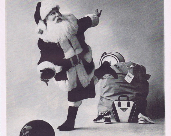 1961 Santa Claus AMF Bowling Balls, Bags and Shoes and AMF Roadmaster Bicycles Original Vintage Christmas Advertisement
