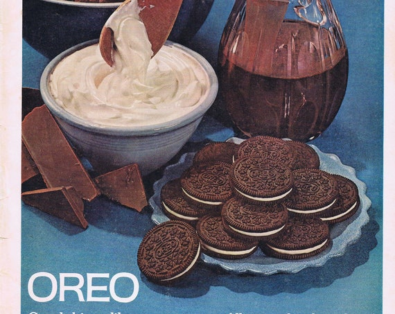 1961 Oreo Cookies More Creamy Filling Large Original Vintage Advertisement