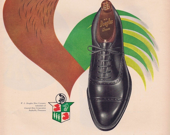 1951 Douglas Men's Shoes or Morton Salt Original Vintage Advertisement