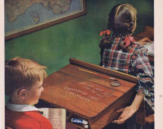 1949 Pep O Mint Life Savers Original Vintage Advertisement Neat Art with Schoolchildren and Desk