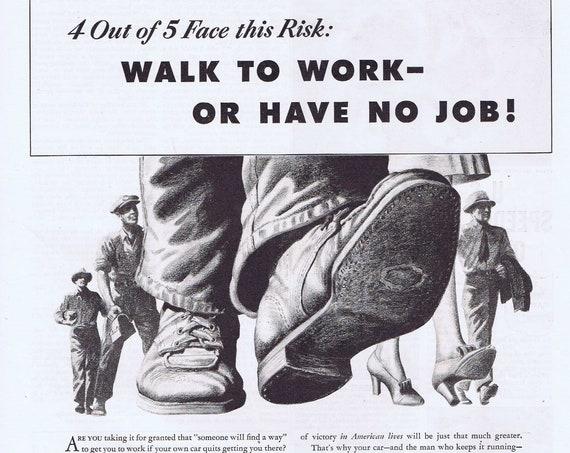 1943 WWII Home Front Transportation to Work Challenge Original Vintage Alemite Advertisement