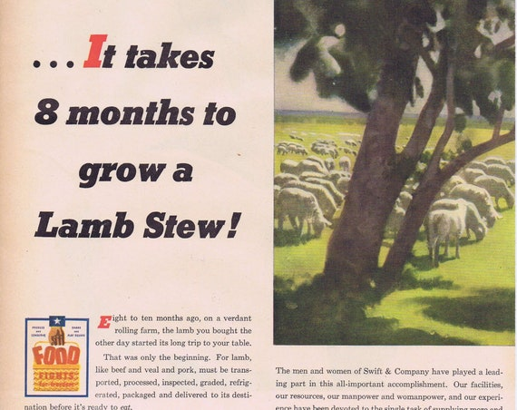 1945 WW2 Swift Meats and Lamb Production Original Vintage Advertisement