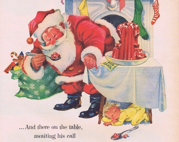 1955 Santa and Jell-O Original Vintage Christmas Advertisement with Cute Art Drawing