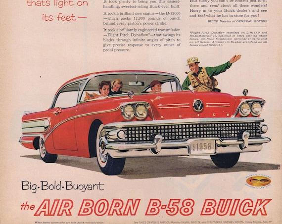 1958 Buick Air Born B-25  Roadmaster Automobile Original Vintage Advertisement with Fishing Trip Art