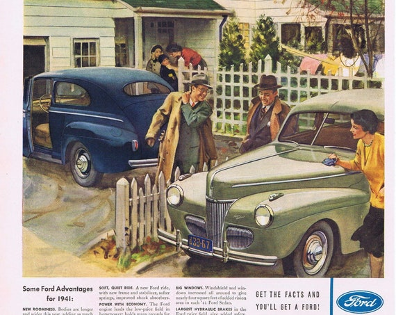 1941 Ford Automobiles Built at River Rouge Plant or Frigidaire Refrigerators  Original Vintage Advertisement