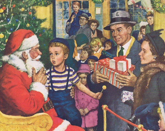 1949 Daddy Wants a New Plymouth Visit to Santa Claus Original Vintage Christmas Advertisement with Wonderful Vintage Art