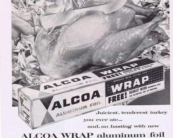 1956 Alcoa Wrap Thanksgiving Turkey or Edgeworth Pipe Tobacco with Santa Original Vintage Advertisement