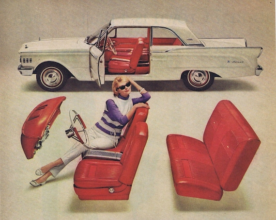 1961 Mercury Comet S-22 White Coupe with Red Interior and 6 Bullet Shaped Tail Lights Original Vintage Automobile Advertisement