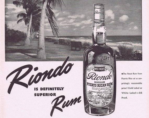 1942 Riondo Puerto Rican Rum by Barcelo Marques Original Vintage Advertisement