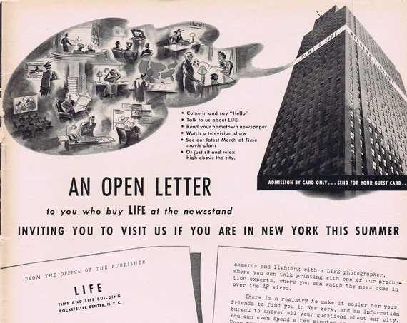 1939 Invitation to Visit the Time and Life Building in New York Original Vintage Advertisement