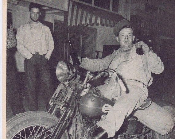 1947 Fourth of July Motorcycle Club Photo at Hollister, California or Ralph Brunty National Marbles Tournament Tearful Runner-Up