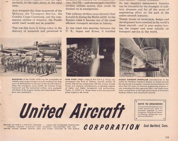 1951 United Aircraft and Korean War Effort Original Vintage Advertisement