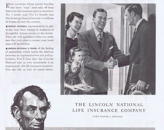 1950 Lincoln National Life Insurance Company or Domestic Sewing Machines Original Vintage Advertisements