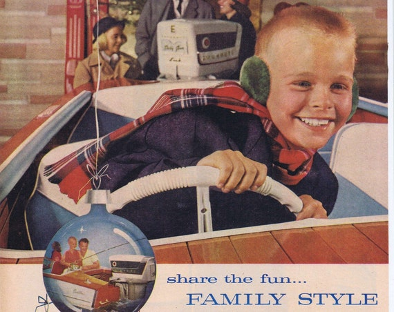 1957 Evinrude Outboard Motors Family Original Vintage Christmas Advertisement with Excited Young Boy at the Wheel
