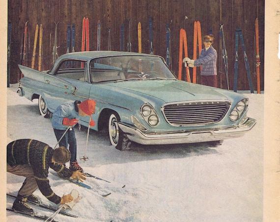 1961 Chrysler Newport Car or Take Tea and Tea Feeling Fenced-In Original Vintage Advertisements