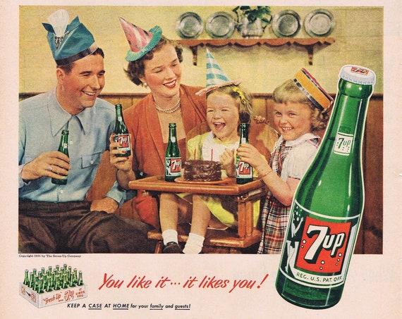 7-Up Soft Drink and Karen's Birthday Party Original 1951 Vintage Advertisement
