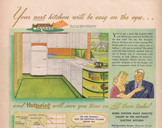 1943 Hotpoint Electric Kitchens with Plans or Chrysler Imagination in Engineering WW2 Era Original Vintage Advertisement