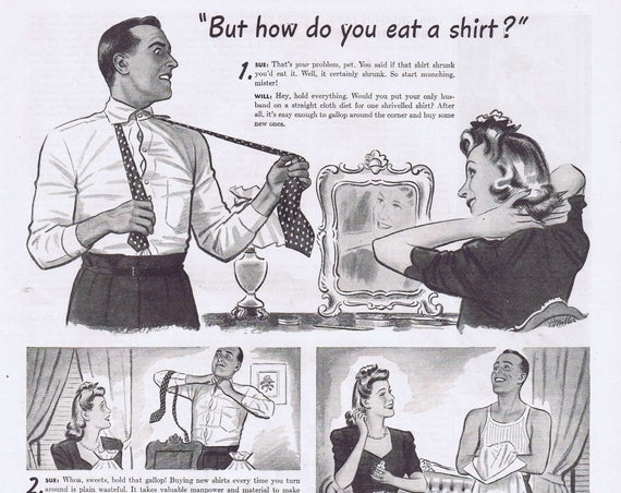 1944 Sanforized Label Men's Shirts Original Vintage Advertisement with Neat Information about Avoiding Waste and Getting a Permanent Fit