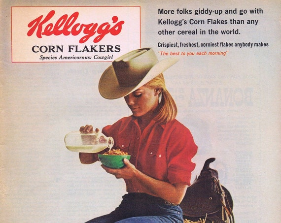 Pretty Cowgirl Enjoying Kellogg's Corn Flakes 1965 Original Vintage Advertisement